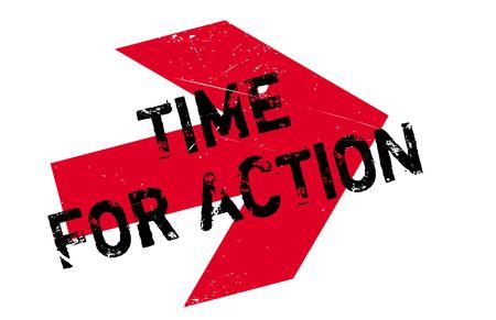 Tiempo para el sello acción. Diseño de Grunge con los rasguños polvo. Los efectos se pueden quitar fácilmente para una apariencia limpia y nítida. En color se cambia fácilmente. Ilustración de vector