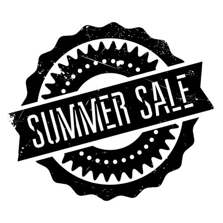 summer solstice: Summer sale stamp. Grunge design with dust scratches. Effects can be easily removed for a clean, crisp look. Color is easily changed. Illustration