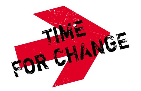 Time for change stamp. Grunge design with dust scratches. Effects can be easily removed for a clean, crisp look. Color is easily changed. Illustration