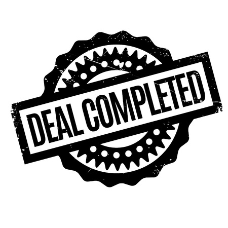 pledge: Deal Completed rubber stamp. Grunge design with dust scratches. Effects can be easily removed for a clean, crisp look. Color is easily changed.