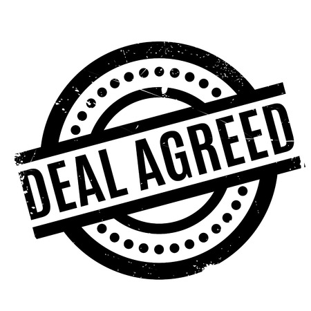 barter: Deal Agreed rubber stamp. Grunge design with dust scratches. Effects can be easily removed for a clean, crisp look. Color is easily changed.