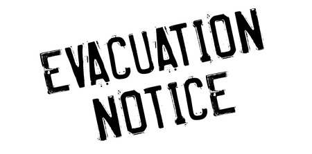 Evacuation Notice rubber stamp. Grunge design with dust scratches. Effects can be easily removed for a clean, crisp look. Color is easily changed. Illustration