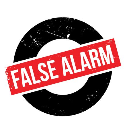 False Alarm rubber stamp. Grunge design with dust scratches. Effects can be easily removed for a clean, crisp look. Color is easily changed. Vectores