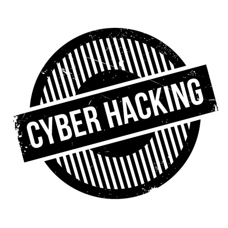 Cyber Hacking rubber stamp. Grunge design with dust scratches. Effects can be easily removed for a clean, crisp look. Color is easily changed. Vektorové ilustrace