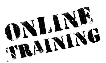 Online training stamp. Grunge design with dust scratches. Effects can be easily removed for a clean, crisp look. Color is easily changed. Illustration