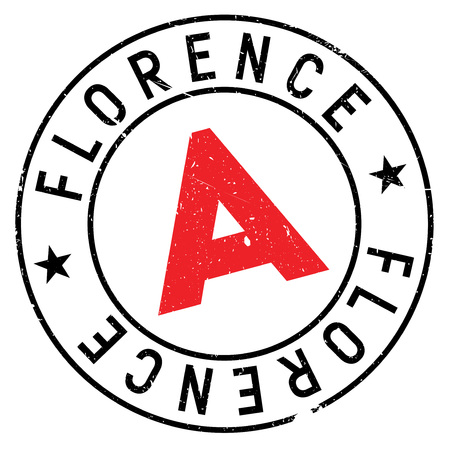 Florence stamp. Grunge design with dust scratches. Effects can be easily removed for a clean, crisp look. Color is easily changed. rubber grunge