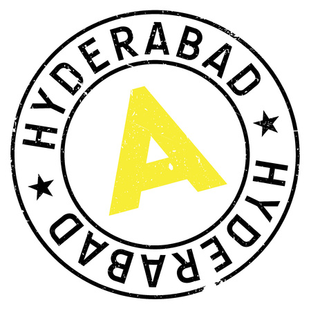 Hyderabad stamp. Grunge design with dust scratches. Effects can be easily removed for a clean, crisp look. Color is easily changed. rubber grunge Illustration