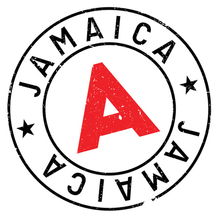 Jamaica stamp. Grunge design with dust scratches. Effects can be easily removed for a clean, crisp look. Color is easily changed. rubber grunge Illustration