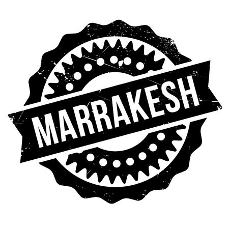 Marrakesh stamp. Grunge design with dust scratches. Effects can be easily removed for a clean, crisp look. Color is easily changed. rubber grunge