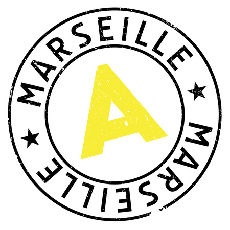french culture: Marseille stamp. Grunge design with dust scratches. Effects can be easily removed for a clean, crisp look. Color is easily changed. rubber grunge