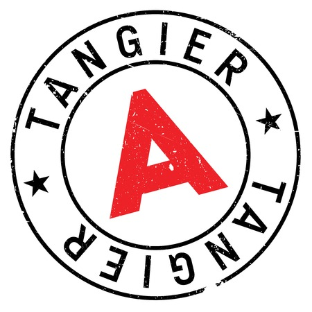 Tangier stamp. Grunge design with dust scratches. Effects can be easily removed for a clean, crisp look. Color is easily changed.
