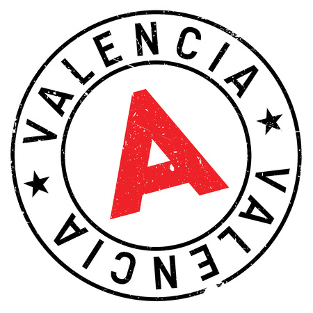Valencia stamp. Grunge design with dust scratches. Effects can be easily removed for a clean, crisp look. Color is easily changed.