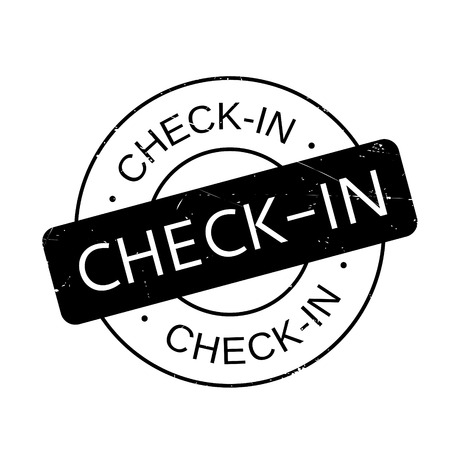 checking accounts: Check-In rubber stamp. Grunge design with dust scratches. Effects can be easily removed for a clean, crisp look. Color is easily changed.