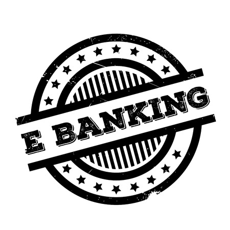 e business: E-Banking rubber stamp. Grunge design with dust scratches. Effects can be easily removed for a clean, crisp look. Color is easily changed.