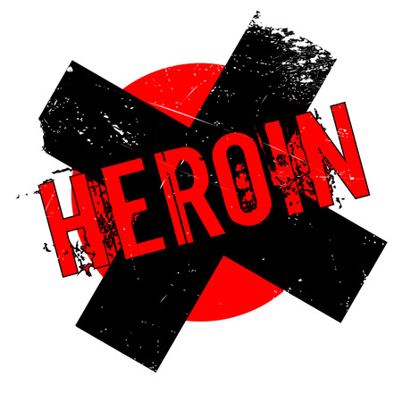 Heroin rubber stamp. Grunge design with dust scratches. Effects can be easily removed for a clean, crisp look. Color is easily changed. Illustration