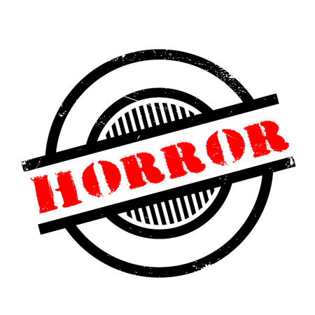 horrific: Horror rubber stamp. Grunge design with dust scratches. Effects can be easily removed for a clean, crisp look. Color is easily changed. Illustration