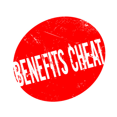 fraudulent: Benefits Cheat rubber stamp. Grunge design with dust scratches. Effects can be easily removed for a clean, crisp look. Color is easily changed. Illustration