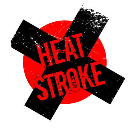 Heat Stroke rubber stamp. Grunge design with dust scratches. Effects can be easily removed for a clean, crisp look. Color is easily changed.
