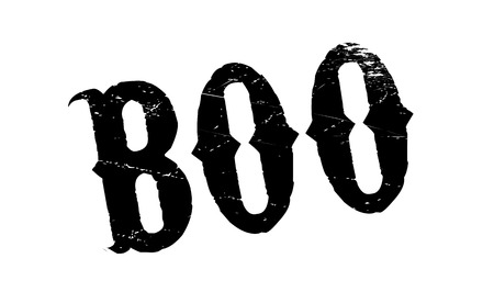 Boo rubber stamp. Grunge design with dust scratches. Effects can be easily removed for a clean, crisp look. Color is easily changed. Иллюстрация