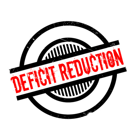 credit crunch: Deficit Reduction rubber stamp. Grunge design with dust scratches. Effects can be easily removed for a clean, crisp look. Color is easily changed.