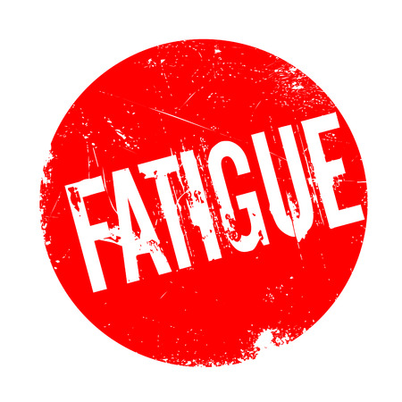 Fatigue rubber stamp. Grunge design with dust scratches. Effects can be easily removed for a clean, crisp look. Color is easily changed.