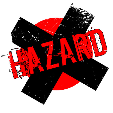 Hazard rubber stamp. Grunge design with dust scratches. Effects can be easily removed for a clean, crisp look. Color is easily changed.