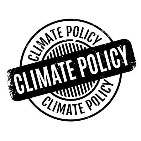 Timbro di gomma della politica climatica. Design grunge con graffi di polvere. Gli effetti possono essere facilmente rimossi per un look pulito e nitido. Il colore è facilmente modificabile