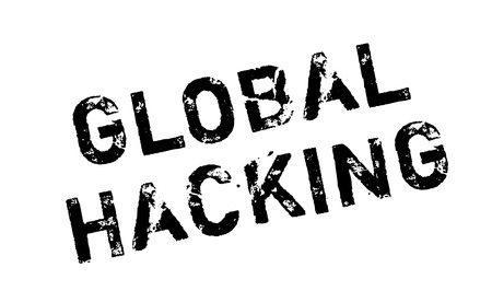 con: Global Hacking rubber stamp. Grunge design with dust scratches. Effects can be easily removed for a clean, crisp look. Color is easily changed. Illustration