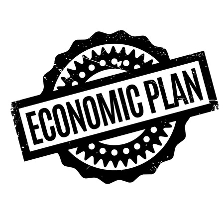 bust: Economic Plan rubber stamp. Grunge design with dust scratches. Effects can be easily removed for a clean, crisp look. Color is easily changed.
