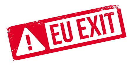 exiting: EU Exit rubber stamp. Grunge design with dust scratches. Effects can be easily removed for a clean, crisp look. Color is easily changed.