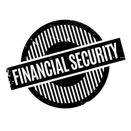 Financial Security rubber stamp. Grunge design with dust scratches. Effects can be easily removed for a clean, crisp look. Color is easily changed.