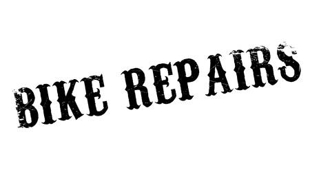 Las reparaciones de la bici del sello de goma. Diseño de Grunge con los rasguños polvo. Los efectos se pueden quitar fácilmente para una apariencia limpia y nítida. En color se cambia fácilmente. Ilustración de vector