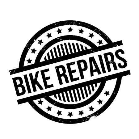 Bike Repairs rubber stamp. Grunge design with dust scratches. Effects can be easily removed for a clean, crisp look. Color is easily changed. Illustration