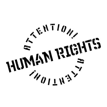 Derechos Humanos del sello de goma. Diseño de Grunge con los rasguños polvo. Los efectos se pueden quitar fácilmente para una apariencia limpia y nítida. El color se cambia fácilmente. Ilustración de vector
