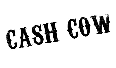 Cash Cow rubber stamp. Grunge design with dust scratches. Effects can be easily removed for a clean, crisp look. Color is easily changed. Illustration