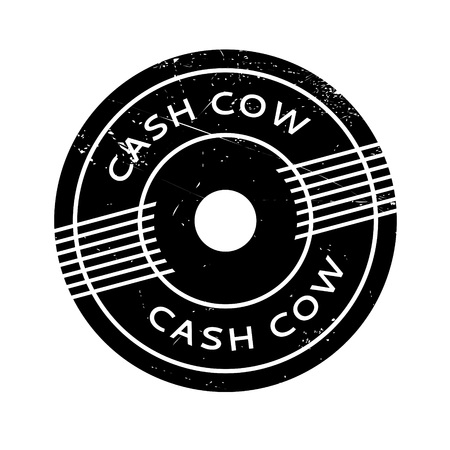 bulldoze: Cash Cow rubber stamp. Grunge design with dust scratches. Effects can be easily removed for a clean, crisp look. Color is easily changed. Illustration