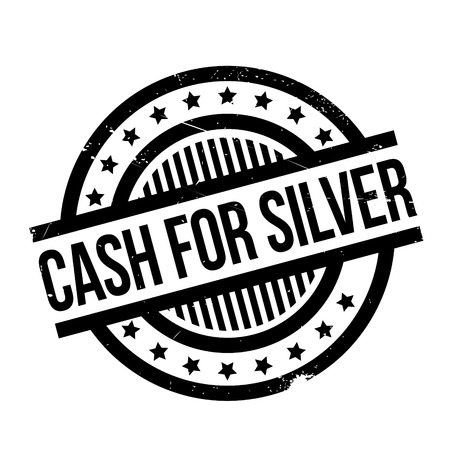 Cash For Silver rubber stamp. Grunge design with dust scratches. Effects can be easily removed for a clean, crisp look. Color is easily changed. Illustration