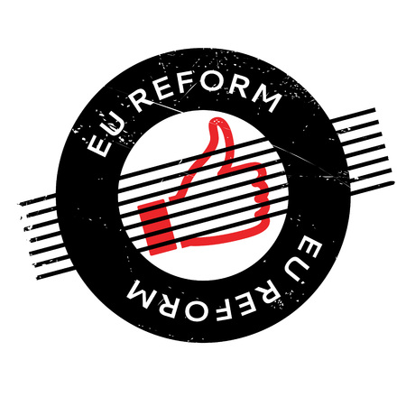 reorganize: Eu Reform rubber stamp. Grunge design with dust scratches. Effects can be easily removed for a clean, crisp look. Color is easily changed. Illustration