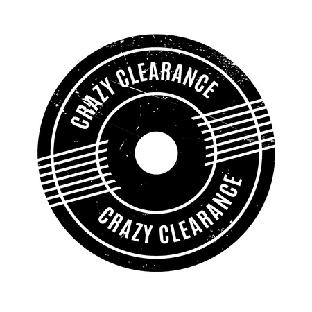 Crazy Clearance rubber stamp. Grunge design with dust scratches. Effects can be easily removed for a clean, crisp look. Color is easily changed. 向量圖像