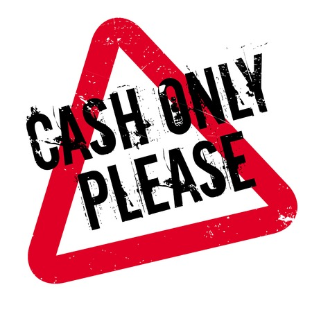 Cash Only Please rubber stamp. Grunge design with dust scratches. Effects can be easily removed for a clean, crisp look. Color is easily changed.