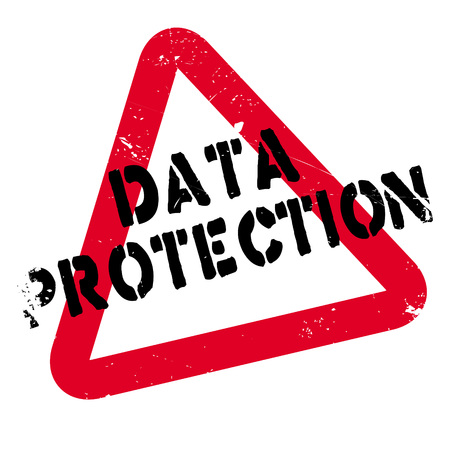Data Protection rubber stamp. Grunge design with dust scratches. Effects can be easily removed for a clean, crisp look. Color is easily changed.