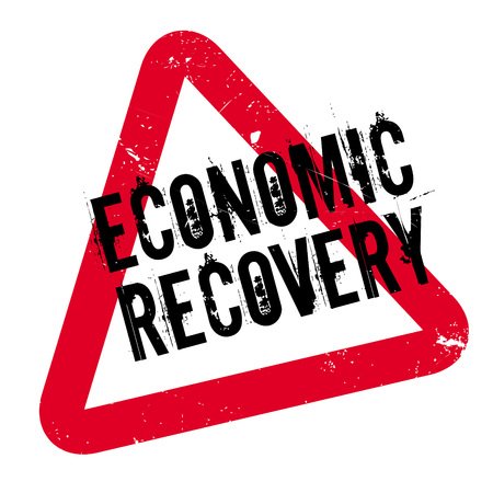 budgetary: Economic Recovery rubber stamp. Grunge design with dust scratches. Effects can be easily removed for a clean, crisp look. Color is easily changed.