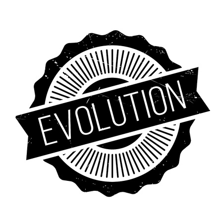 Evolution rubber stamp. Grunge design with dust scratches. Effects can be easily removed for a clean, crisp look. Color is easily changed. Illustration