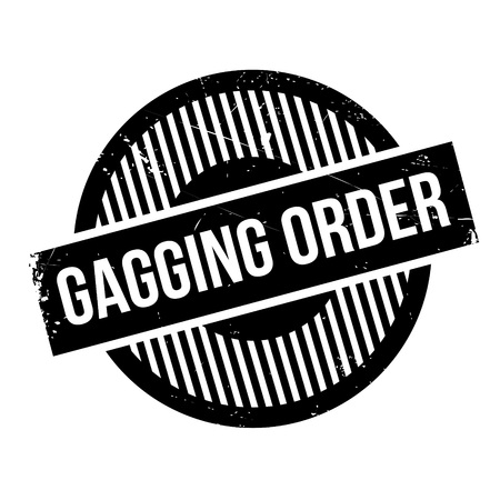 Gagging Order rubber stamp. Grunge design with dust scratches. Effects can be easily removed for a clean, crisp look. Color is easily changed. Illustration