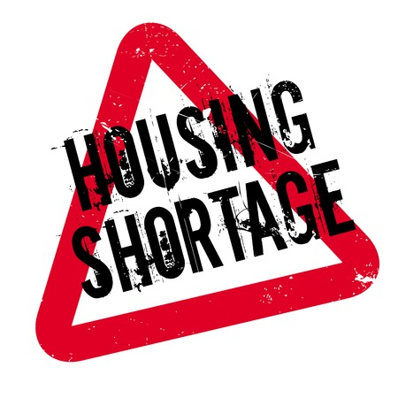 Housing Shortage rubber stamp. Grunge design with dust scratches. Effects can be easily removed for a clean, crisp look. Color is easily changed. Stock Photo
