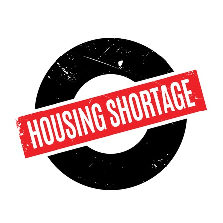 housing crisis: Housing Shortage rubber stamp. Grunge design with dust scratches. Effects can be easily removed for a clean, crisp look. Color is easily changed. Stock Photo