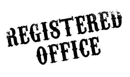registrar: Registered Office rubber stamp. Grunge design with dust scratches. Effects can be easily removed for a clean, crisp look. Color is easily changed.