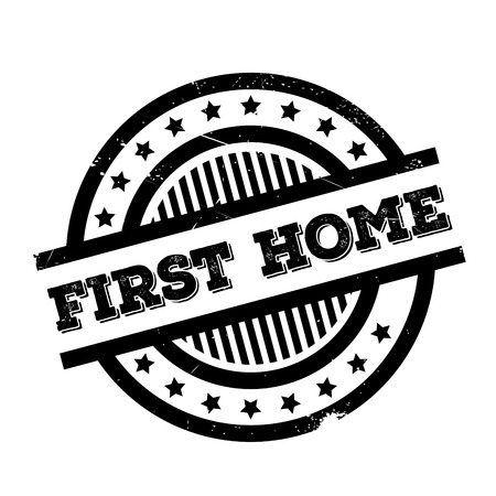 First Home rubber stamp. Grunge design with dust scratches. Effects can be easily removed for a clean, crisp look. Color is easily changed. Illustration