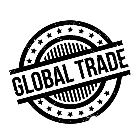 Global Trade rubber stamp. Grunge design with dust scratches. Effects can be easily removed for a clean, crisp look. Color is easily changed. Illustration