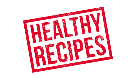 Healthy Recipes rubber stamp. Grunge design with dust scratches. Effects can be easily removed for a clean, crisp look. Color is easily changed.